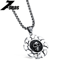 Fashion Summer Jewelry Cool Skull Fire Darts Pendant Necklace Full Stainless Steel Man's Accessories Gift for Boyfriend,M1041