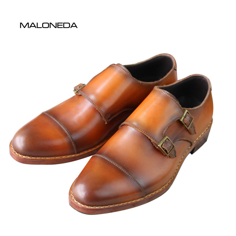 MALONEDA Bespoke High Quality Goodyear welted Genuine Leather Double Monk-Strap Shoes Pure Manual Mix Color