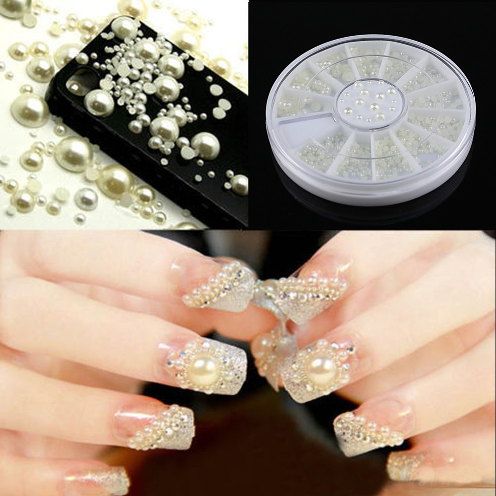 Kemei 3 Sizes Nice Nail Art White Faux Pearl Stickers Tips ...