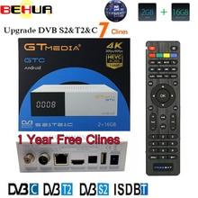 Gtmedia GTC 4K Android tv box DVB-C Cable Youtube DVB-S2 DVB-T2 Bluetooth 4.0 Receptor Satellite receiver Cline Tv Tuner Biss VU