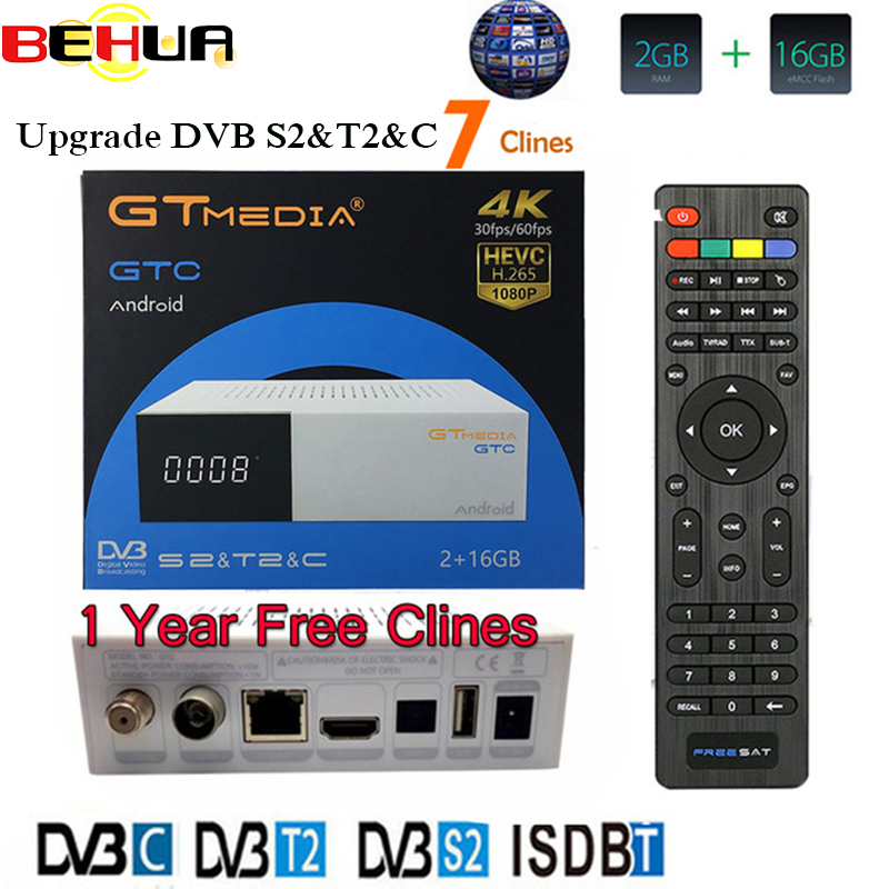 Gtmedia GTC 4K <font><b>Android</b></font> <font><b>tv</b></font> <font><b>box</b></font> <font><b>DVB</b></font>-C Cable Youtube <font><b>DVB</b></font>-<font><b>S2</b></font> <font><b>DVB</b></font>-<font><b>T2</b></font> Bluetooth 4.0 Receptor Satellite receiver Cline <font><b>Tv</b></font> Tuner Biss VU image