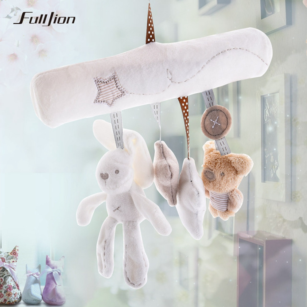 Fulljion Baby Toddler Toys Rattles Mobiles Bunny Stroller Popular Toys For Baby Rabbit Projection Plush Musical Doll Educational
