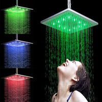 Ninth World Hot Sale 8 Inch Square 3 Colors Changing LED Shower Head Bathroom Rainfall Shower