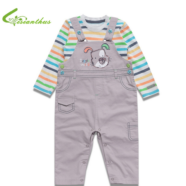Baby Boyss Clothing Sets Cotton Long Sleeve T-shirts Overalls 2PCS Clothes Spring Toddlers Bebe Animals Dog Free Drop Shipping