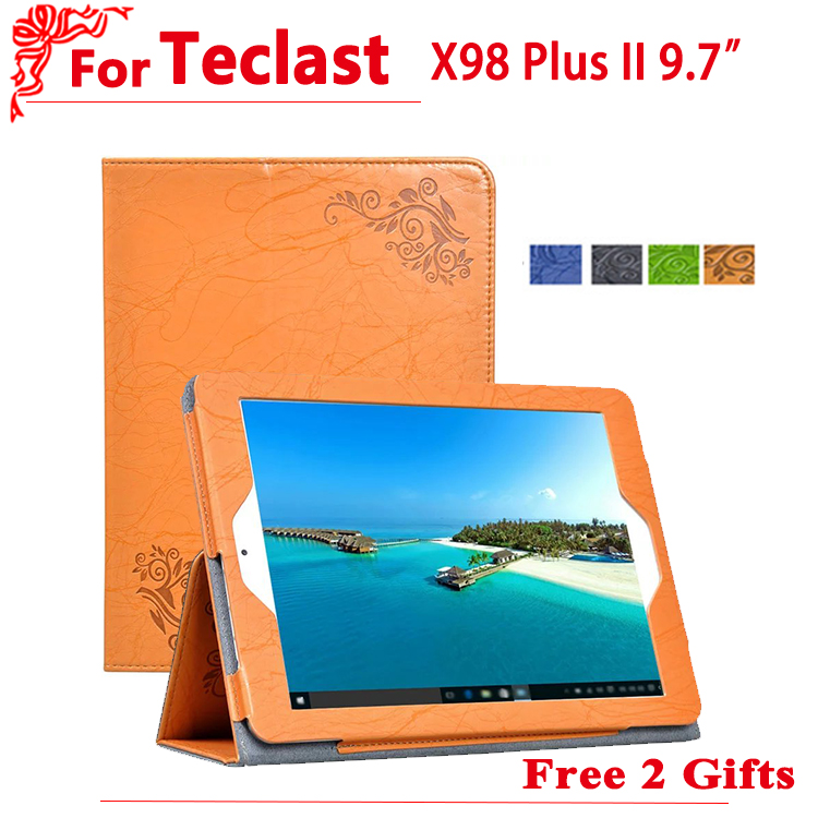high quality PU case For Teclast X98 Plus II/2 Protective Flip Cover Case PU Leather Case For Teclast X98 Plus II + free 2 gifts a1398 high quality 98