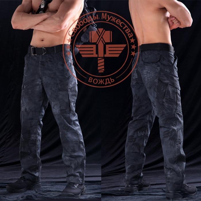 Мужские военные змеиные камуфляжные тактические охотничьи брюки мужские s Mandrake Typhon зернистые брюки с принтом армейские мужские брюки - Цвет: Черный