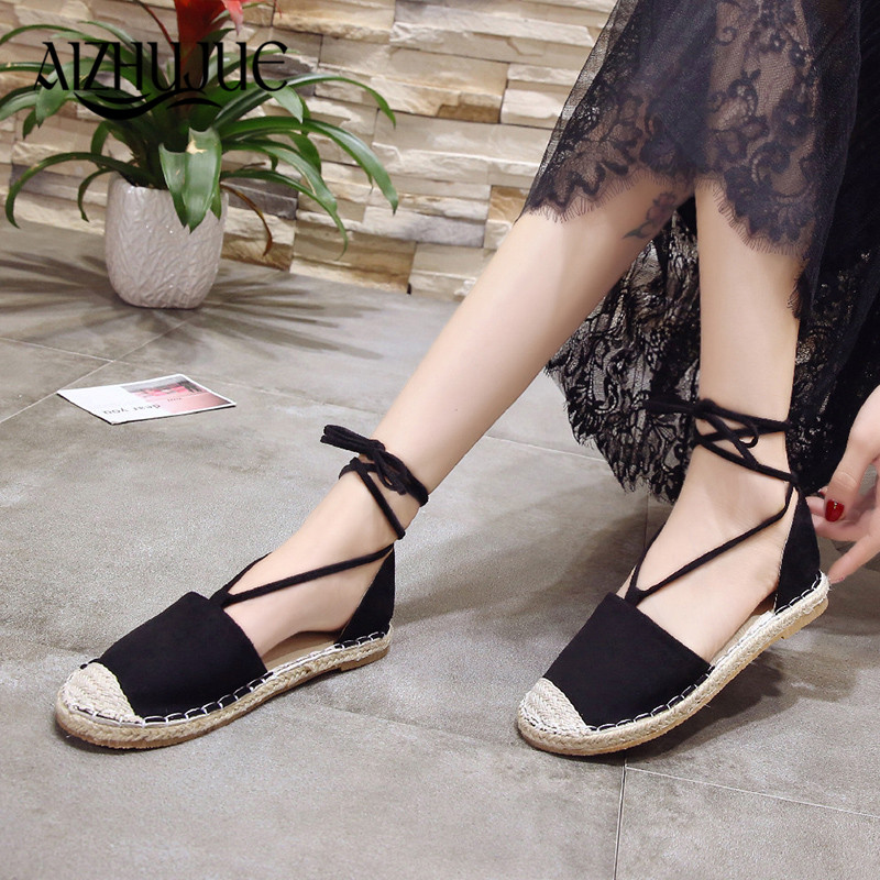 FAMIAO Canvas Espadrille Women Flats causal round Ankle Strap Hemp Bottom Fisherman Shoes For 2018 lace up Women Loafers цены онлайн