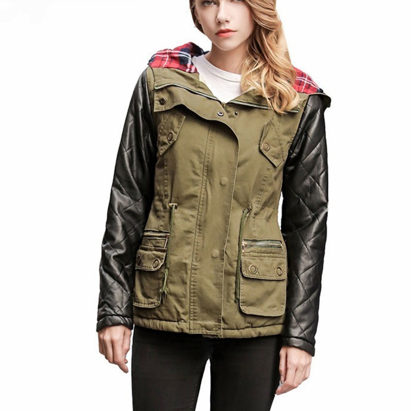 PU Patchwork Mid Length Plus Size Casual   Parka   Female 2019 Winter Coat Women Tops European Hat Hooded Cotton Padded Jacket J101