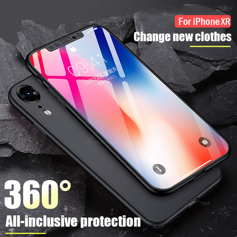 360 Degrees Full Protective Phone Iphone XR XS Max Full Shockproof Cover Iphone X XR XS Cases With Glass
