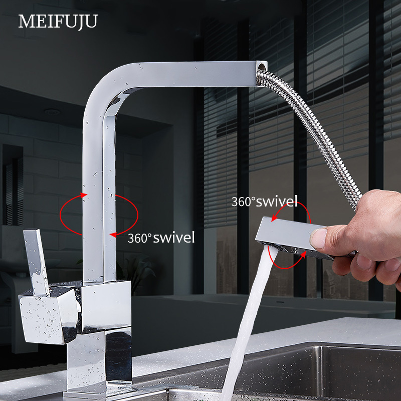 MEIFUJU Square Brass Kitchen Faucets Pull Out Single Handle Kitchen Faucet Mixer Pull Out Nickel Brushed Mixer Sink Chrome Tap xoxo kitchen faucet brass brushed nickel high arch kitchen sink faucet pull out rotation spray mixer tap torneira cozinha 83014