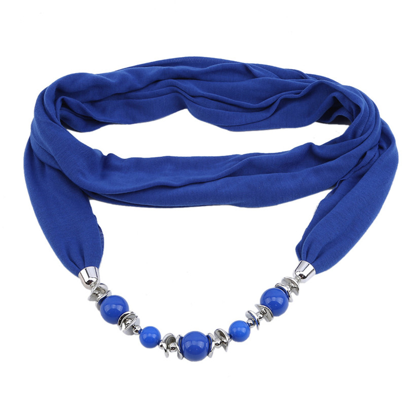 Women Neckerchief Headscarf Ring Scarf With Beads Solid Color Jewelry Shawl Decoration Accessories Fashion Design Multicolor