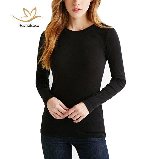 Rachelcoco 2016 primavera da mulher breve t-shirt das mulheres branco / preto moda em torno do pescoço de manga comprida cor sólida inferior magro Tops