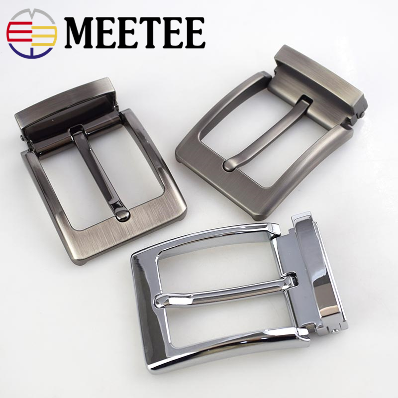Meetee 40mm Pin Belt Buckle Men's Metal Clip Buckle DIY Leather Craft Jeans Accessories Supply for 3.8cm-3.9cm Wide Belt AP034