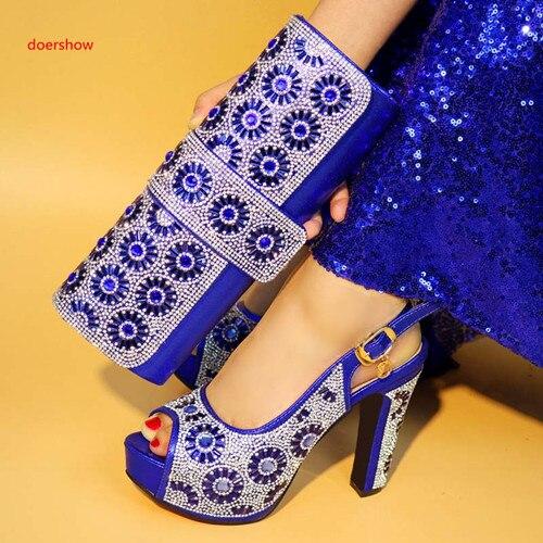 2018 Avec Sacs Ensemble Noir À Italien Chaussures Africain 4 Pour Sly1 Sac argent Doershow Correspondre bleu rouge Et or Ensembles Royal Assorties t07qxw