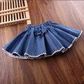 2017 Spring Autumn Summer Girl Skirt Girls Skirts Bow Lace Denim Children For Girls Fantasia Tutus Baby Saia Cake Tutu JW1207