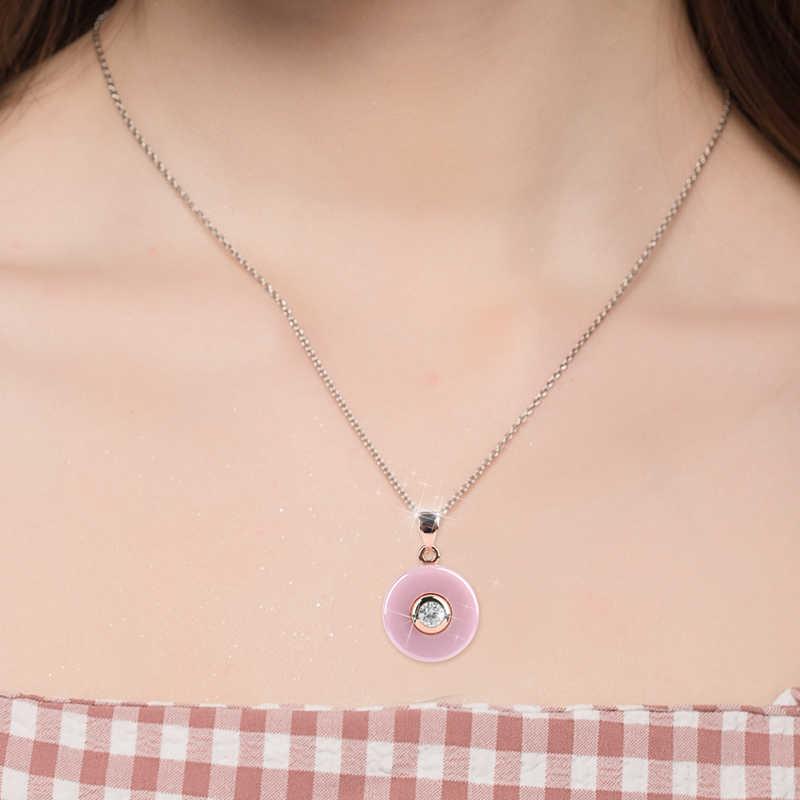 Romantyczny piękny różowy ceramiczne naszyjnik prosty styl okrągłe wisiorki róża w kolorze różowego złota złoty kolor dla kobiet dziewczyna najlepsze prezenty