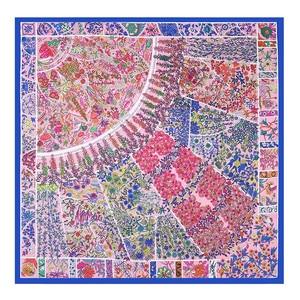 Image 5 - พิมพ์ดอกไม้ใหญ่สแควร์ผ้าพันคอผ้าไหมหรูหรายี่ห้อ WOMENS Twill ผ้าพันคอ Shawl Hijabs อินเดีย JOKER ผ้าพันคอขายส่ง 130*130 ซม.
