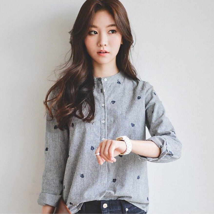 2018 Nova Primavera Blusa Camisas Listradas Lazer Estudante Ocasional das Mulheres Bordado de Manga Comprida Camisas Das Mulheres