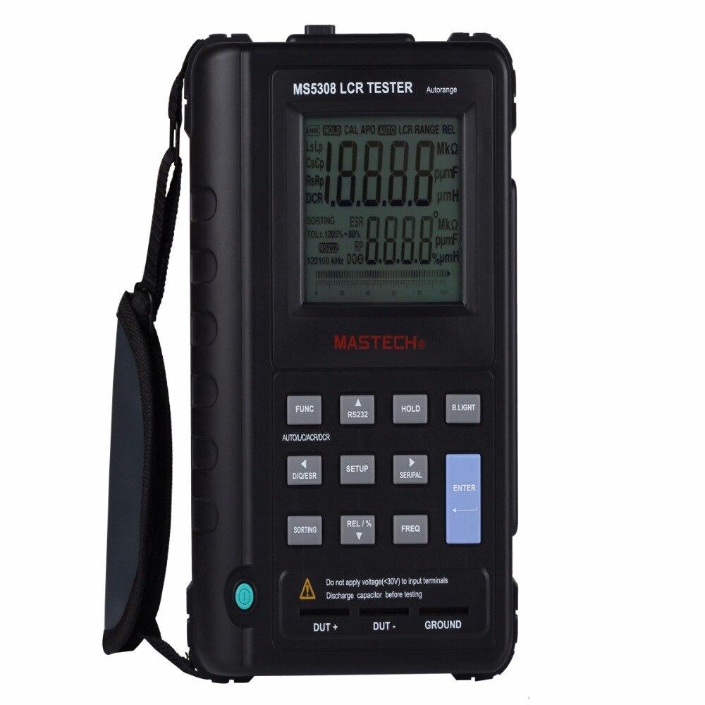 wholesale 5pcs Mastech MS5308 LCR digital Tester Meter Portable Handheld Auto Range LCR Meter High-Performance 100Khz lutron lcr 9083 digital lcr meter