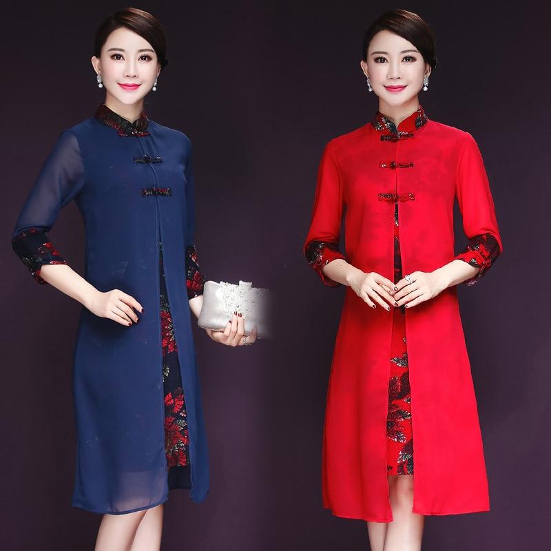 Beautiful !!2018 free shipping Autumn New Dress Elegant Retro Printed Mandarin Collar Cheongsam Dresses Plus Size Women Clothing
