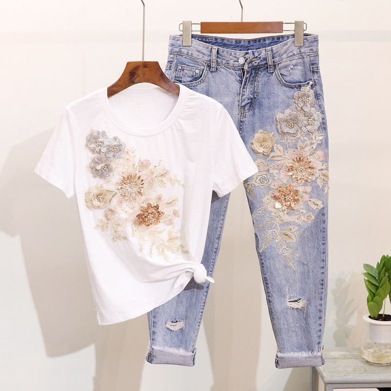 Russian high quality women two piece spring summer new flower embroidery sequins loose T shirt hole