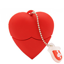 نص لي U فلاشة على هيئة قلم 4 جيجابايت 8 جيجابايت 16 جيجابايت 32 جيجابايت الكرتون الأحمر القلب أفضل هدية محرك فلاش usb