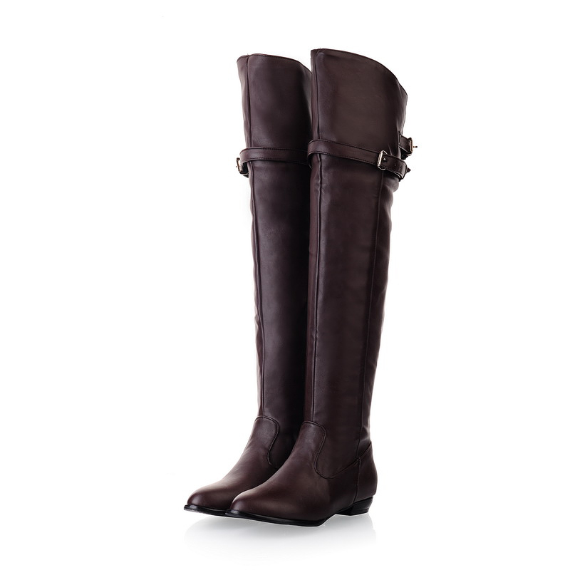 New Winter Women Over the Knee Thigh High Boots Sweet Black Brown Ladies Shoes A181H Plus Big Size 45 10 11 Warm Fur