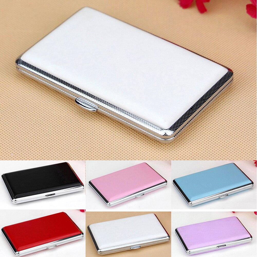 New Cigarette Case 7 Colors Cigarette Box Solid Color Leathes