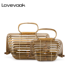 LOVEVOOK women handbag bamboo bag female genuine totes  stra