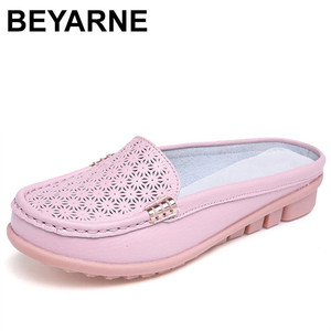 Image 1 - BEYARNE solid genuine leather women shoes summer sandals women slippers top quality flip flops slides flats sandals for woman
