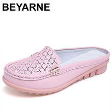BEYARNE solido delle donne del cuoio genuino scarpe sandali di estate delle donne pantofole di vibrazione di alta qualità flop slides appartamenti sandali per la donna