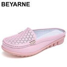 Beyarne sólida couro genuíno sapatos femininos sandálias de verão chinelos chinelos de qualidade superior chinelos sandálias para mulher