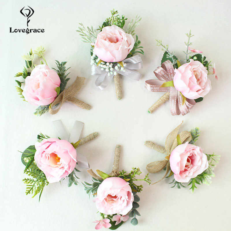 結婚式 Boutonnieres 白ピンクのシルクバラ手首のコサージュのブレスレット花嫁介添人の花新郎ブローチ結婚カフ手首コサージュ