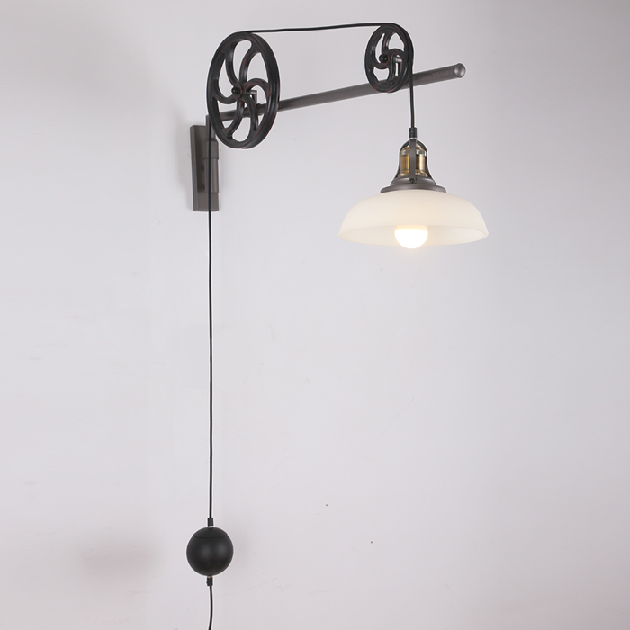 Edison Mirror Vintage Lifting Pulley Wall Lamp Loft Industrial For Cafe Club Bar