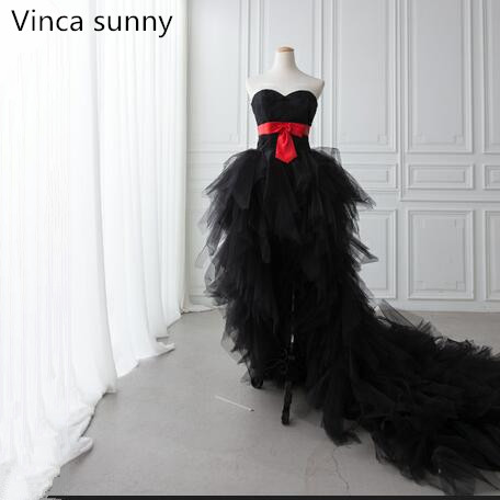 2018 Sexy Black Prom Dresses Short Front Long Back Evening Gown Tulle Fashion Party Formal Evening Gowns Vestido De Festa