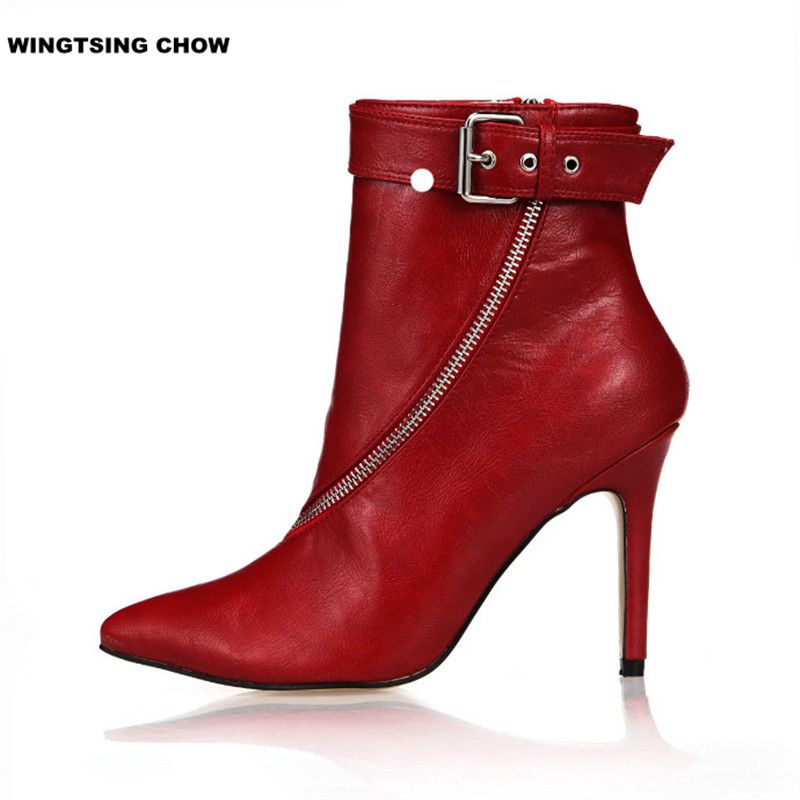 Sexy Pointed Toe Ankle Boots Women High Heel Fashion Spring Autumn Ladies Shoes Big Size Women Pumps fashion winter women short boots sexy pointed toe platform high heel shoes big size 32 46 solid pu ladies zipper ankle boots