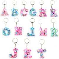 Fashion 3D Unicorn Keychain Letter Keyring Double-faced PVC Key Chain Bag Pendant Gift Purse Hang Decoration
