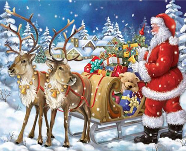Fashion shiny drill painting sled DIY Diomand Santa Claus snow gifts crystal Cross Stitch Christmas deers diamond embroidery