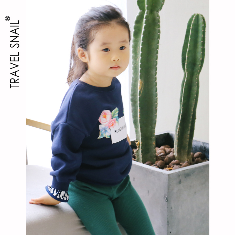 Cotton Girls T-shirts Kids Tshirts for Girls Tops 2018Autumn Fashion Kids Clothes Girls Floral Blouse 2-7 Yrs Kids Blue T-shirts