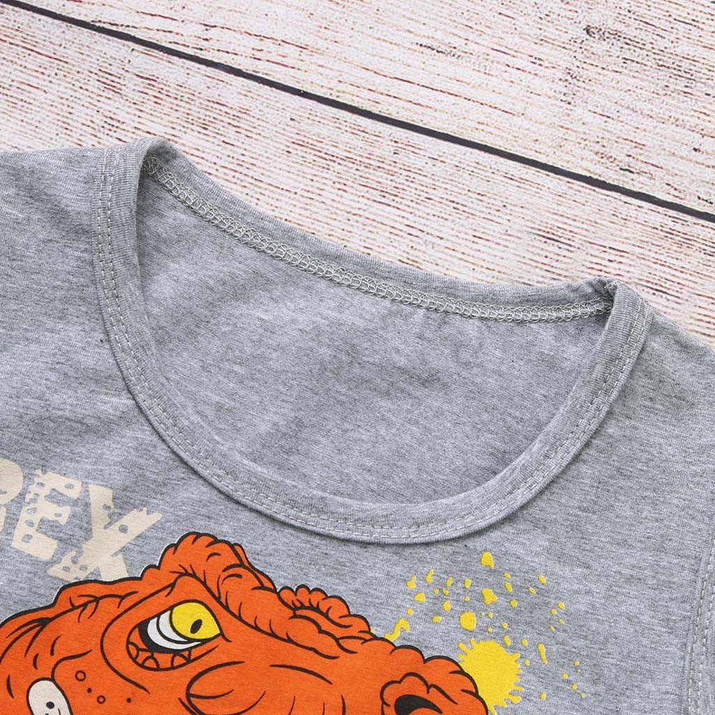 Criança meninos roupas 2019 dos desenhos animados dinossauro colete t shirt + shorts pijamas criança treino casual esporte terno 1 2 3 4 5 7 anos
