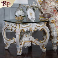 Neoclassical Furniture Luxruy Handcraft Solid Wood Round Side Table Free Shipping