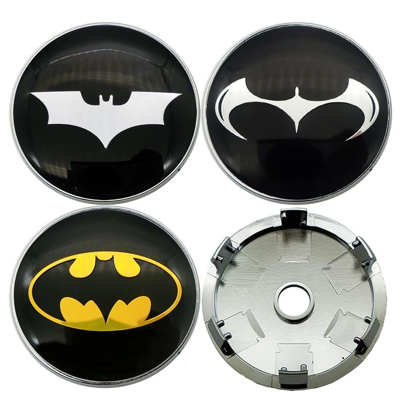 4pcs 60MM Car Wheel Center Hub Cap Car Sticker 3D Batman Badge Cover