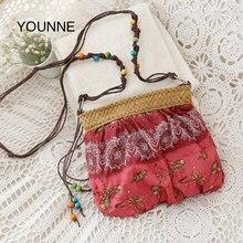 ca25cad854fe YOUNNE 2018 Новый Для женщин соломенная сумка Экзотический цветочный соломы  плетение ремешок Ткань сумки пляжная сумка
