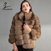 FURSARCAR 2017 Women Fur Coat Real Fox Fur Coat Girls Clothing Natural Hair Genuine Leather Skin Fur Jacket Winter Jacket Coat
