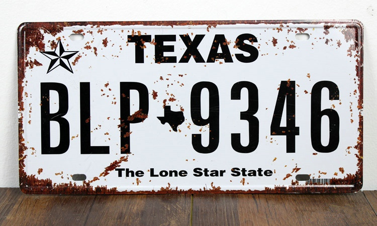 UA-CP-00164 vintage metal tin signs License car number  BLP-9346 TEXAS  cafe pub wall art craft decor painting 30*15 CM
