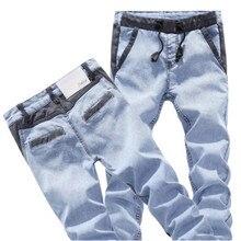 Мужская мода камуфляж карманы тонкий тощий байкер джинсы Повседневная стретч джинсовые брюки-карго Длинные брюки Молодые люди