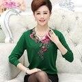 Мать clothing весна осень с длинными рукавами Футболки среднего возраста женщины новое прибытие пуловер женский основные Цветочный рубашка