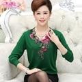 Madre clothing otoño primavera de manga larga t-shirt mujeres de mediana edad nueva llegada suéter básico femenino camisa de flores
