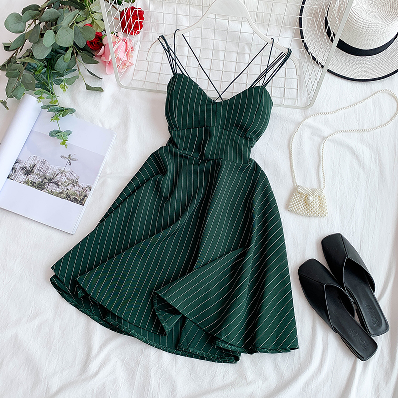 2019 New Fashion Women's Dress Retro Striped V-neck Seaside Dresses Summer