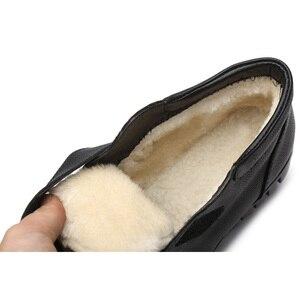 Image 5 - DRKANOL Fashion Echtes Leder Runde Kappe Frauen Schnee Stiefel Winter Flache Stiefeletten Frauen Baumwolle Schuhe Plüsch Warme Botte Femme